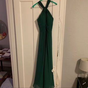 Azazie Dark Green Halter Bridesmaid Dress